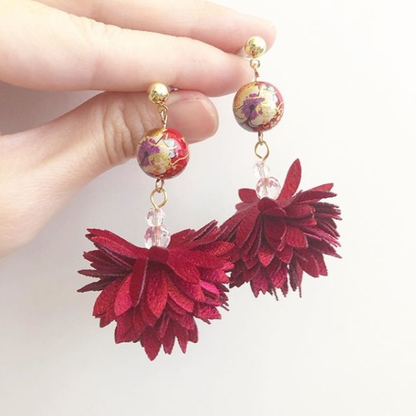 Red Abstract Floral Fairy Bloom Earrings - Diary of a Miniature Enthusiast