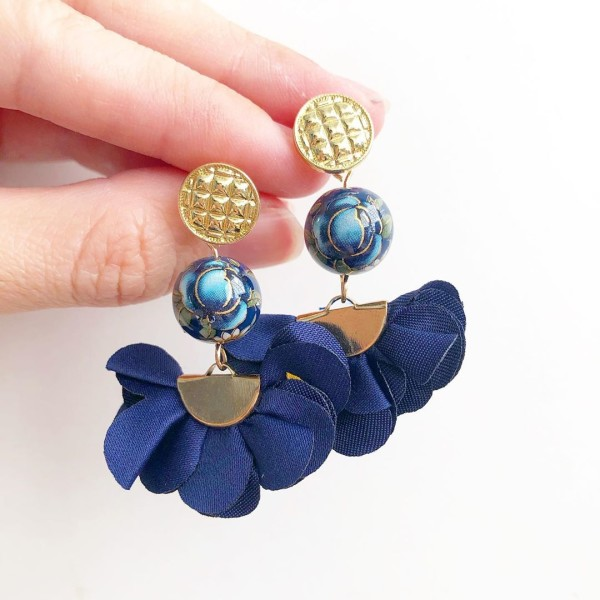 Royal Blue Rose Flare Earrings - Diary of a Miniature Enthusiast