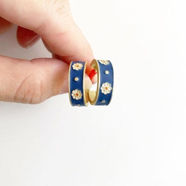 Night Chamomile Fields Elegance Half Hoop Earrings - Diary of a Miniature Enthusiast