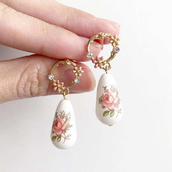 Pastel Pink Rose Floral Dainty Earrings - Diary of a Miniature Enthusiast