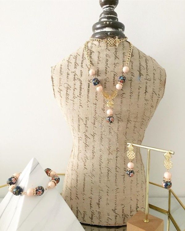 Pink, Gold and Pearl Floral Earrings, Bracelet and Necklaces - Diary of a Miniature Enthusiast