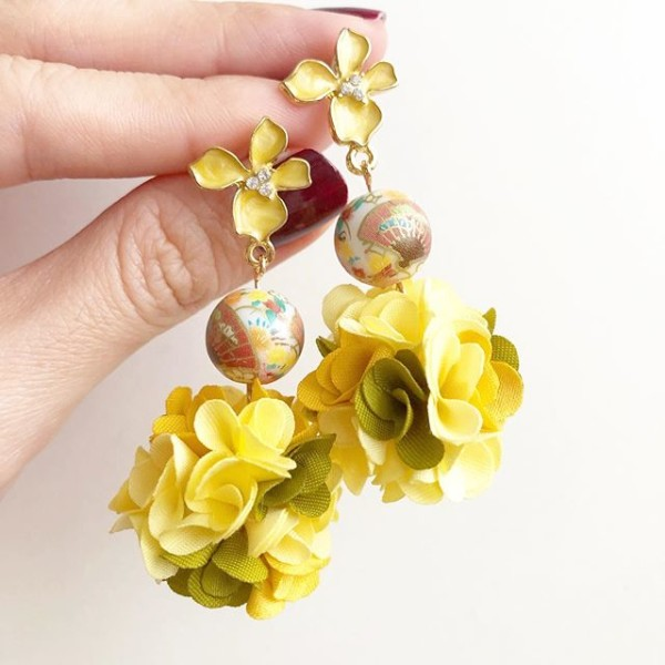 Yellow Fan Pompoms Earrings - Diary of a Miniature Enthusiast