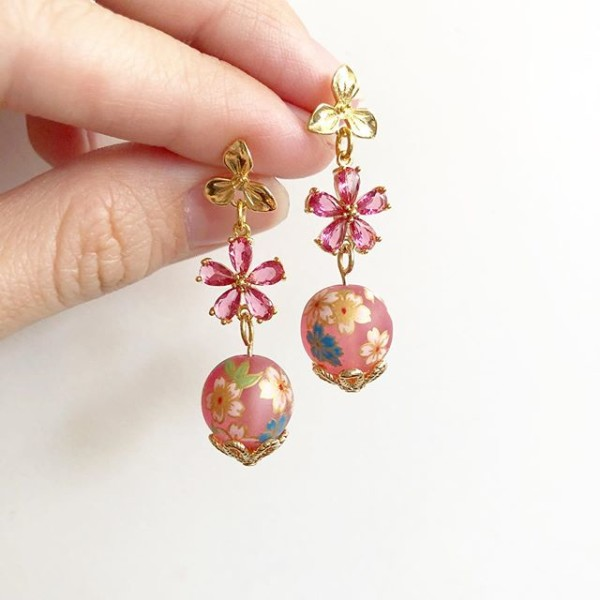 Frosted Pink Sakura Blooms CZ Earrings - Diary of a Miniature Enthusiast
