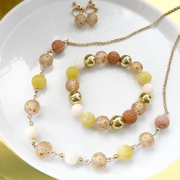 Yellow and Pink Frosted Daffodils Earrings, Bracelet and Necklace - Diary of a Miniature Enthusiast