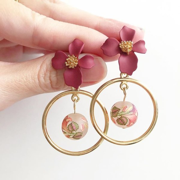 Frosted Double Mauve Lilies Floral Earrings - Diary of a Miniature Enthusiast