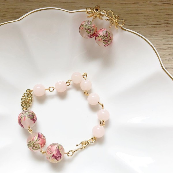Double Pink Lily Bow Earrings and Double Pink Lily Bracelet - Diary of a Miniature Enthusiast