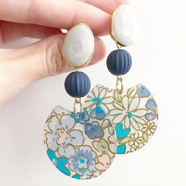 Blue Floral Modern Earrings - Diary of a Miniature Enthusiast