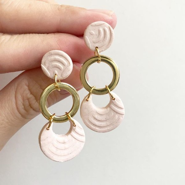 Blush Blooms Moon Links Earrings - Diary of a Miniature Enthusiast
