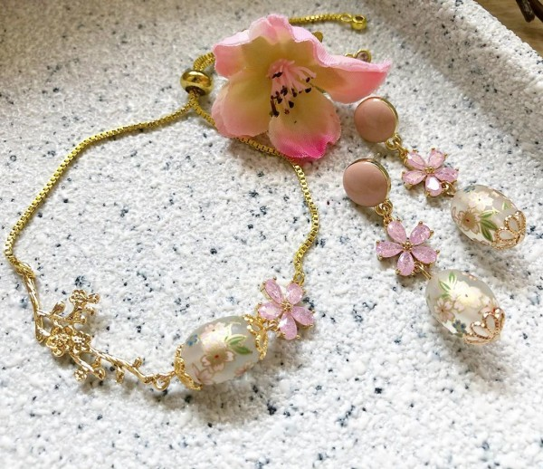Frosted Sakura CZ set of earrings and bracelet - Diary of a Miniature Enthusiast