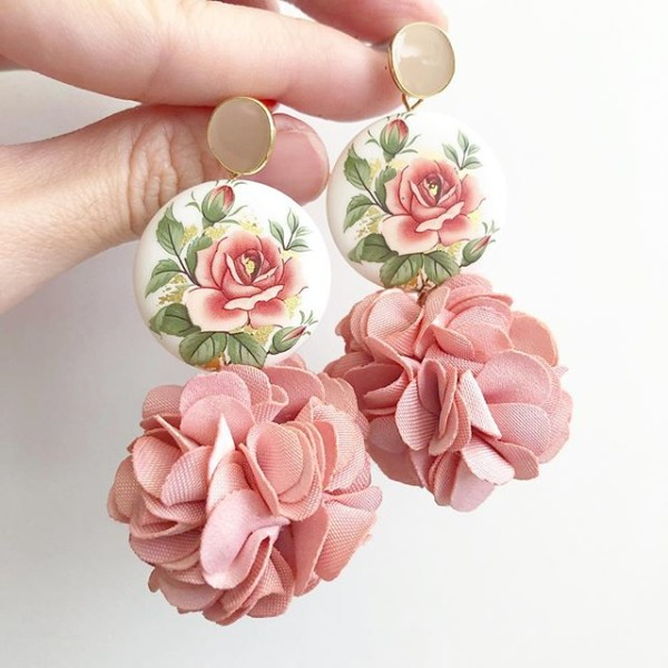 Classic Rose Statement Pompom Earrings - Diary of a Miniature Enthusiast