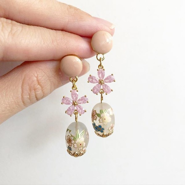 Frosted Sakura CZ Pale Pink Earrings - Diary of a Miniature Enthusiast
