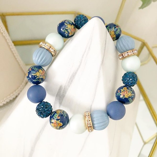 Navy Blue Mixed Beads Elastic Bracelet - Diary of a Miniature Enthusiast