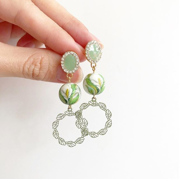 Peace Lily Pastel Green Earrings  - Diary of a Miniature Enthusiast
