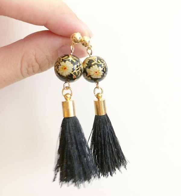 Black Tassels Earrings - Diary of a Miniature Enthusiast