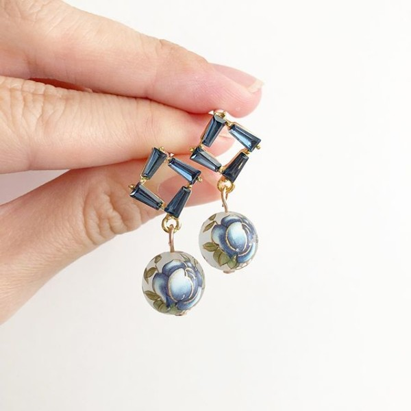 Blue Floral Earrings - Diary of a Miniature Enthusiast