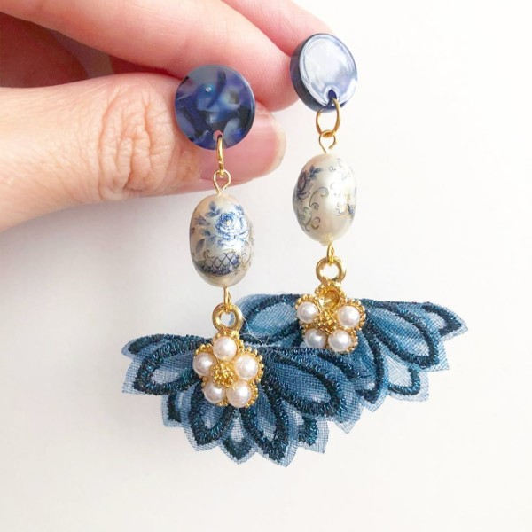 Pearl Toile Rose Navy Flare Earrings - Diary of a Miniature Enthusiast