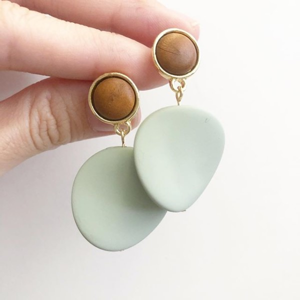 Matte Pastel Sage Twisted Coin Earrings - Diary of a Miniature Enthusiast