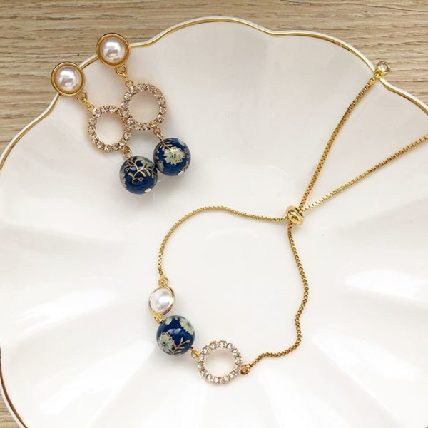 Navy Daffodils Exquisite Rhinestone Adjustable Bracelet&Earrings - Diary of a Miniature Enthusiast