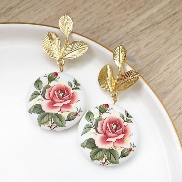 Matte Classic Rose Statement Tensha Earrings - Diary of a Miniature Enthusiast