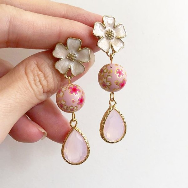 Sweet Pink Sakura Faceted Teardrop Earrings - Diary of a Miniature Enthusiast
