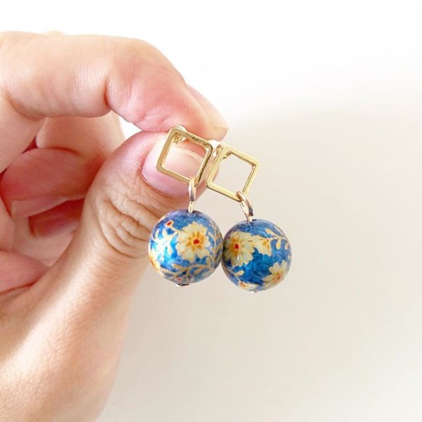 Gold and Blue Floral Earrings - Diary of a Miniature Enthusiast