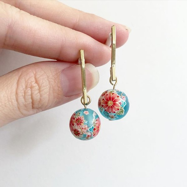 Frosted Blue Sakura Blossoms Earrings - Diary of a Miniature Enthusiast