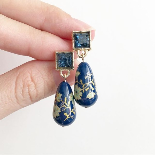 Navy Daffodils Teardrop Tensha Earrings - Diary of a Miniature Enthusiast