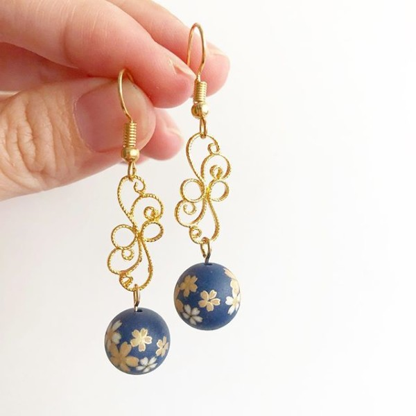 Navy Blue Sakura Floral Earrings - Diary of a Miniature Enthusiast