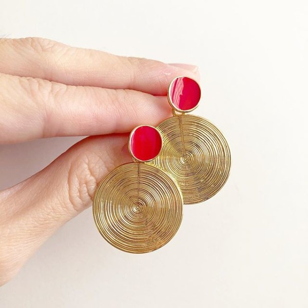Red and Gold Short Earrings - Diary of a Miniature Enthusiast