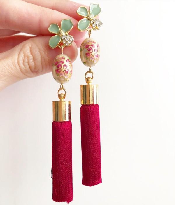 Pearl Sakura with Premium Maroon Silk Tassels - Diary of a Miniature Enthusiast