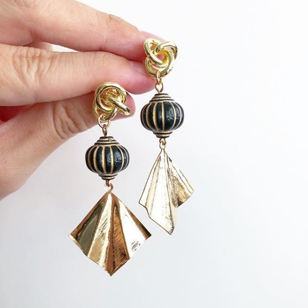 Black and Gold Chunky Earrings - Diary of a Miniature Enthusiast