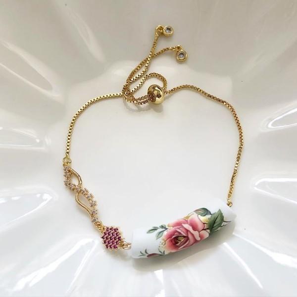 Classic Rose Ceramic Tensha Adjustable Bracelet (Cubic Zirconia links) - Diary of a Miniature Enthusiast
