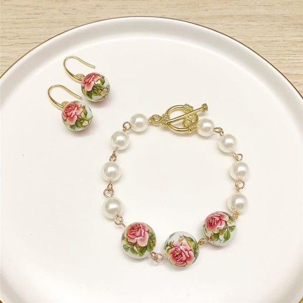 Red and Pearl Floral Bracelet and Earrings - Diary of a Miniature Enthusiast
