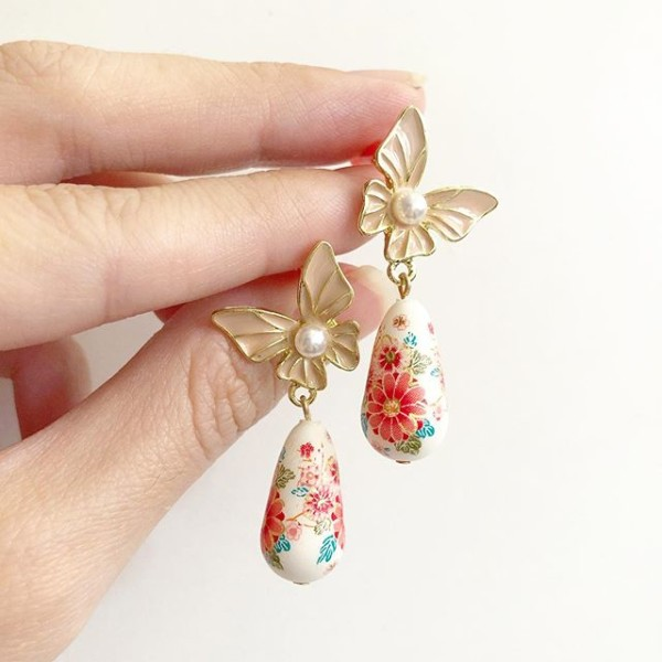 White Sakura Blossoms Teardrop Butterfly Earrings - Diary of a Miniature Enthusiast
