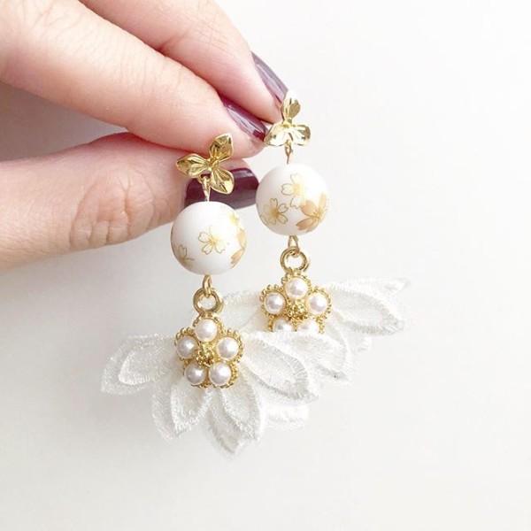 White Sakura Flare Earrings - Diary of a Miniature Enthusiast