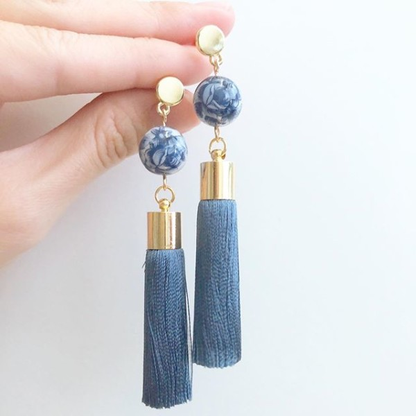Blue China Rose Silk Tassels Earrings - Diary of a Miniature Enthusiast