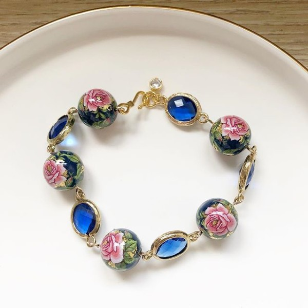 Classic Rose in Navy Faceted Links Bracelet - Diary of a Miniature Enthusiast