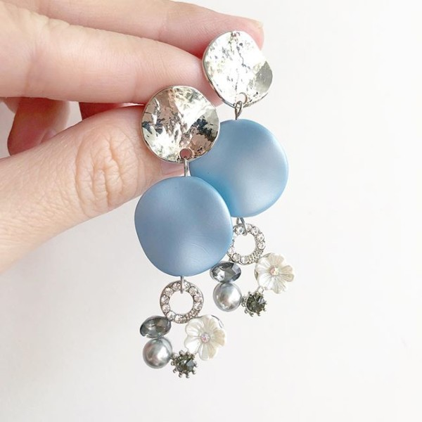 Matte Baby Blue Floral Ring Earrings - Diary of a Miniature Enthusiast