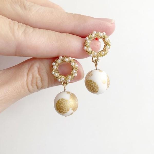 Winter Kimono Intricate Pearl Earrings - Diary of a Miniature Enthusiast