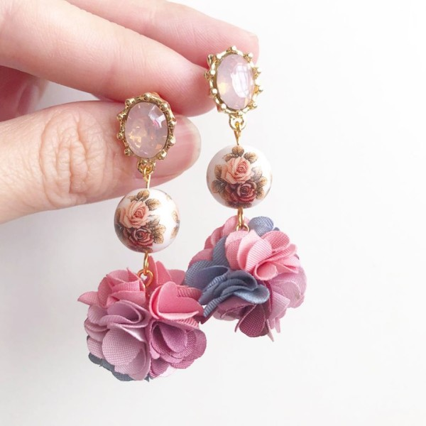 Pink Double Vintage Rose Pompoms Earrings - Diary of a Miniature Enthusiast
