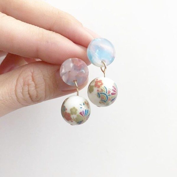 White Kimono Multicolored Resin Earrings - Diary of a Miniature Enthusiast