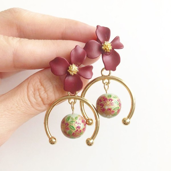 Sage Sakura Maroon Floral Earrings - Diary of a Miniature Enthusiast