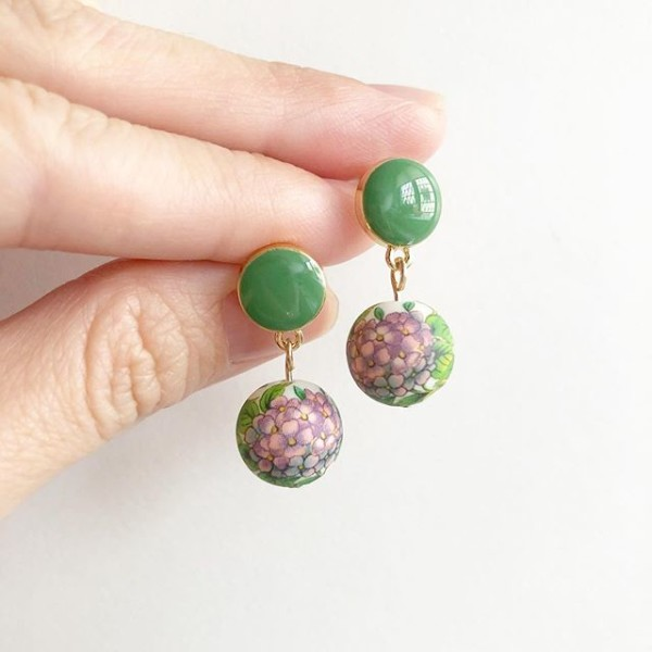 Purple Hydrangeas Green Earrings - Diary of a Miniature Enthusiast