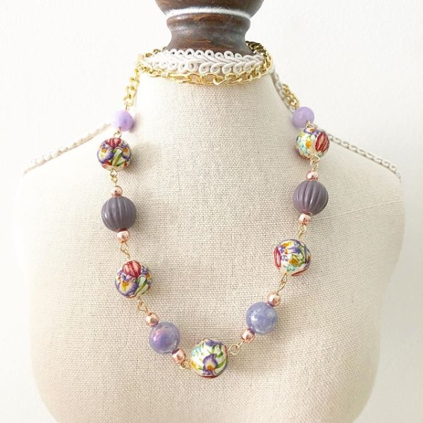 Lilac Wildflowers Short Necklace - Diary of a Miniature Enthusiast