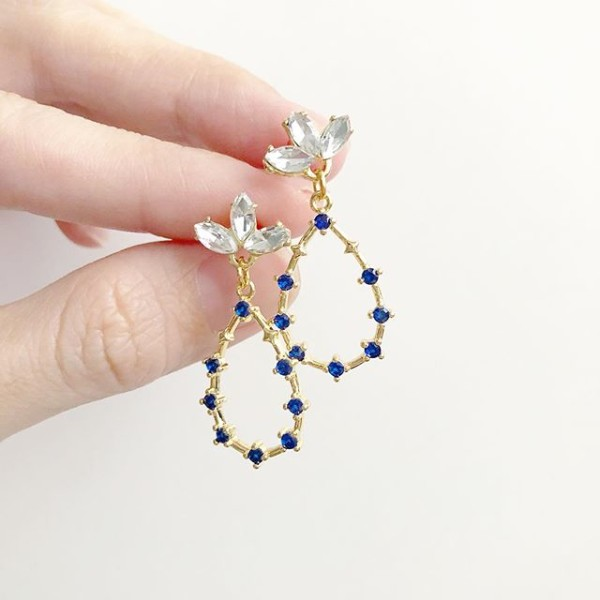 Precious Sapphire Galactic Earrings (Cubic Zirconia stones) - Diary of a Miniature Enthusiast