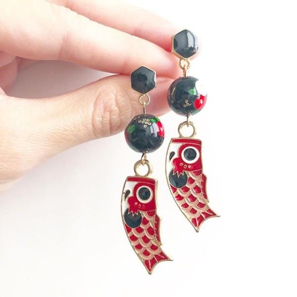 Red Koinobori Earrings - Diary of a Miniature Enthusiast