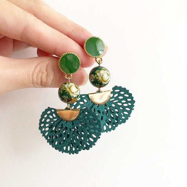 Vintage Rose in Green Flare Earrings  - Diary of a Miniature Enthusiast