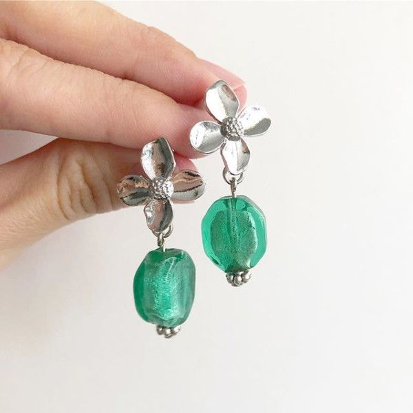 Turquoise and Silver Floral Earrings - Diary of a Miniature Enthusiast