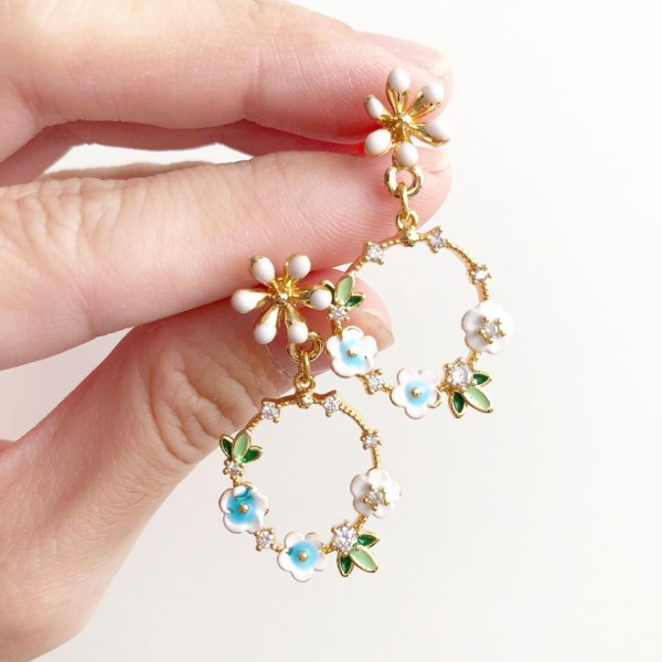 Baby Blue Floral Garland Earrings - Diary of a Miniature Enthusiast