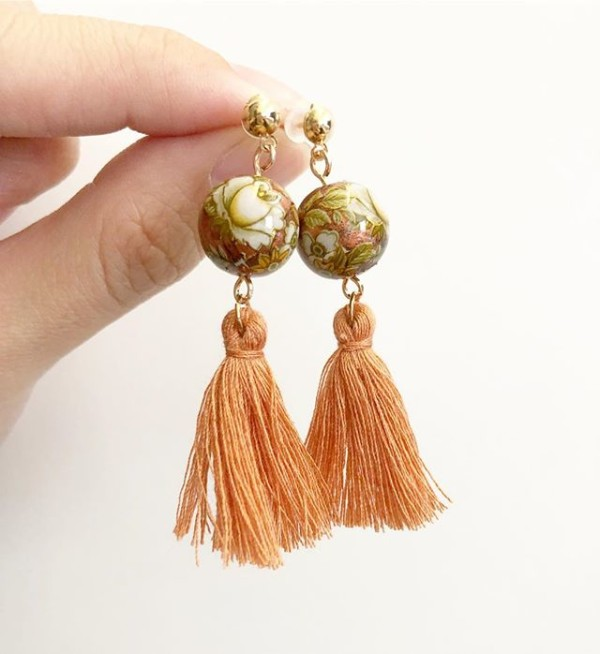 Beige Floral with Dusty Orange Tassels Earrings - Diary of a Miniature Enthusiast